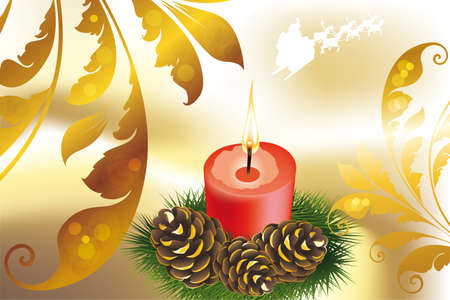 Decorative Christmas card template with candle on shimmering golden background Stock Vector - 11274383