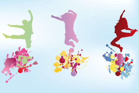 happy people white background: Colorful illustration of jumping kids and splashes