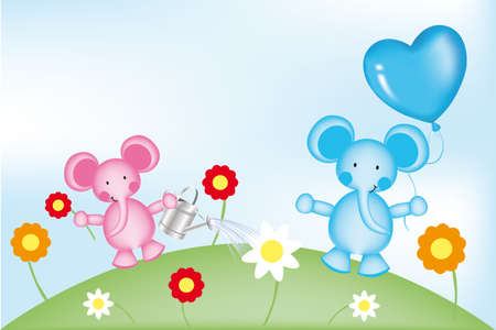 Happy elephants in garden with balloon and flowers - illustration for kids