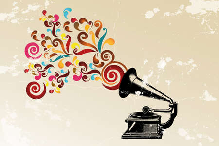 gramophone: Abstract vintage background with record player and colorful swirls and grunge Illustration