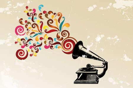 Abstracte vintage achtergrond met platenspeler en kleurrijke wervelingen en grunge