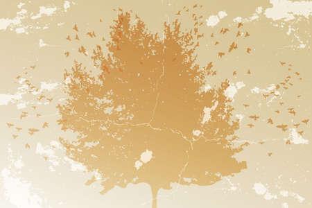 木と鳥とグランディ テクスチャのシルエットと抽象的なビンテージ背景