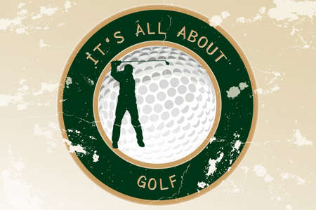 Abstract vintage grungy background with golf ball and silhouette of a golf player - It