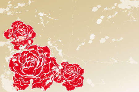 Old vintage background with red engraved roses Stock Vector - 11529959