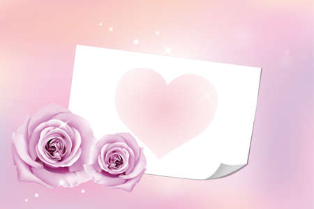 Neutral Valentine's Day card with letter, heart and roses - without text Stock Vector - 11529965