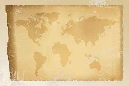 古いヴィンテージ世界地図 - 汚れた背景 - 完全に編集可能なベクトル利用可能