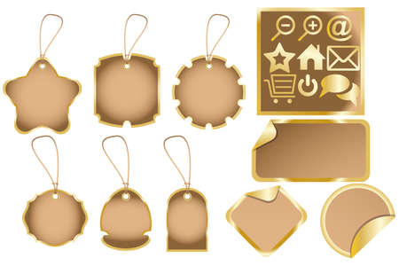 ci: Dummies for various labels and golden web icons - with place for text isolated on white Illustration