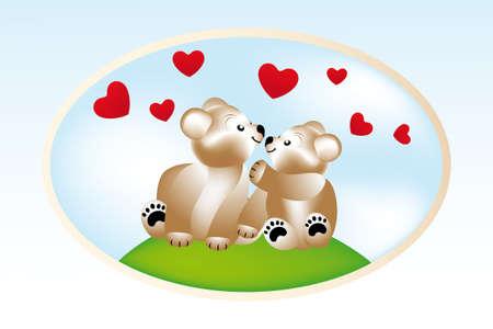 animalitos tiernos: Sonriendo peluches en el amor - ilustraci�n vectorial con dos ositos de peluche lindo, los corazones bajo el cielo azul
