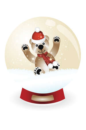 Snowglobe with teddy having fun in snow Vector