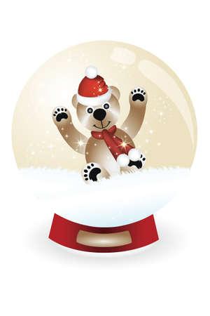 snowglobe:  Snowglobe with teddy having fun in snow Illustration