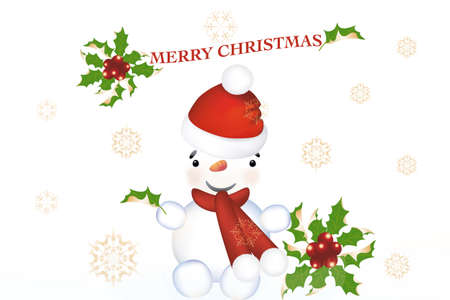 Cute snowman on Christmas card with snowflakes and holly Stock Vector - 11667353