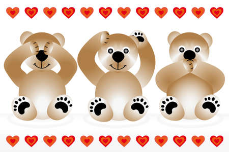 Blind - deaf - dumb - 3 cute teddies showing gestures of blind - deaf - dumb Illustration