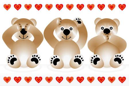 Blind - deaf - dumb - 3 cute teddies showing gestures of blind - deaf - dumb Illustration