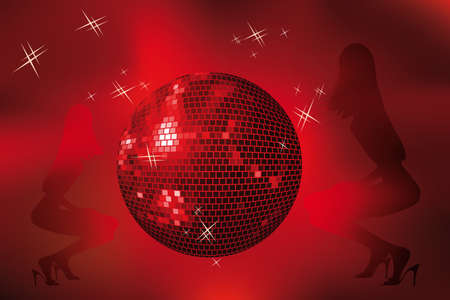 silhouettes of dancing girls on deep-red background with disco-ball and stars Vector