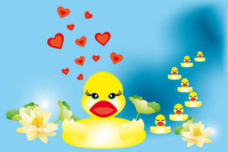 Pato nadando en el lago de la familia con hermosas flores de loto Ilustración de vector