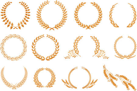 Various golden laurel wreaths isolated on white background