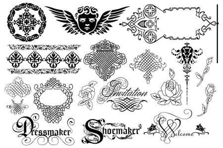 Kalligrafische ontwerpelementen en pagina decoratie-nuttige elementen aan uw lay-out te verfraaien op een witte achtergrond Stock Illustratie