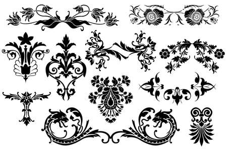 filigree: Floral calligraphic vintage design elements isolated on white background - useful elements to embellish your layout