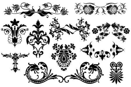 Floral elementos caligráficos de diseño vintage aisladas sobre fondo blanco-elementos útiles para embellecer el diseño