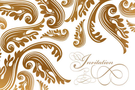 Calligraphy and vintage paisley design card - isolated on white