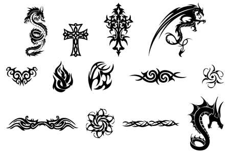 Various tattoo design elements isolated on white background
