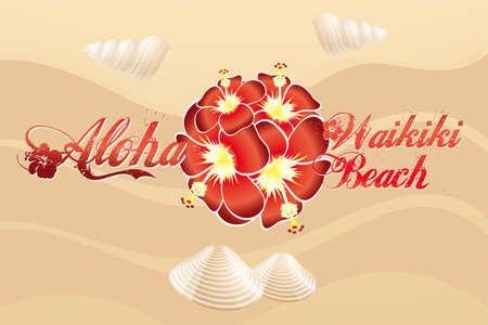 tabla de surf: Aloha Playa Waikiki - Playa de dise�o vintage con hibiscos y mejillones en la arena Vectores