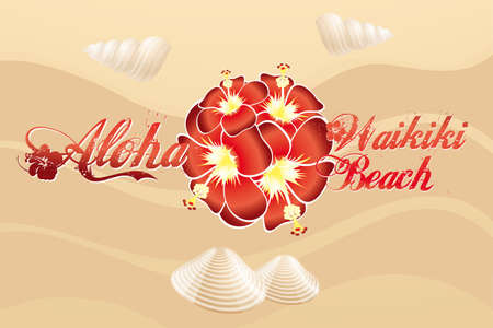 Aloha Waikiki Beach - vintage beach design with hibiscus and mussels on sand Vector