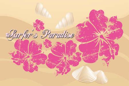 surf silhouettes: Surfers Paradise - Hibiscus, le cozze e il testo sulla spiaggia di sabbia