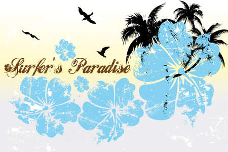 Surfers paradise - vintage illustration with hibiscus, palm tree, birds and sun Stock Illustratie