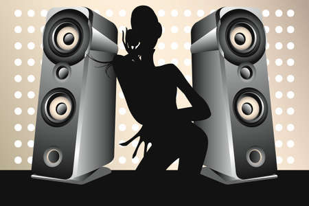 Dancing female DJ with loudspeaker on brilliant background