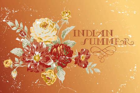 """Vintage poster """"Indian Summer"""" met rozen"""