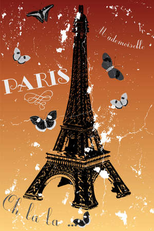 Paris - vintage poster with eiffel tower, butterflies and french text Illustration