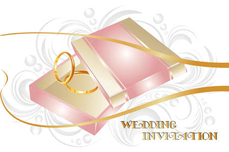 Wedding invitation with gold ring illustration and floral vintage elements and text 'wedding invitation' Vector