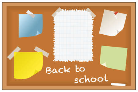 Back to school - post-its and notes on chalkboard Vector