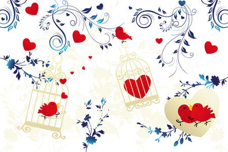 Birds in love - Illustration for various events of couples Stock Vector - 12295867