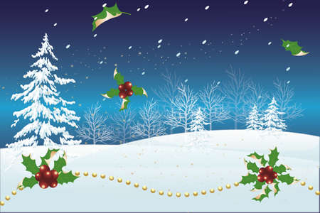 Christmas landscape with holly and golden pearls - card with copy space Иллюстрация