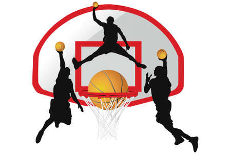 Basketball - Silhouettes of basketball players and basketball equipment