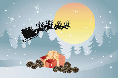 Winter landscape with Santa Claus in his sleigh Vector