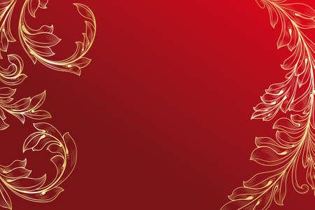 Bloemen gravure kaart met exemplaar-ruimte Stock Illustratie