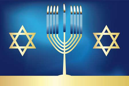 Hanukkah - festive jewish card with burning candles on deep-blue background