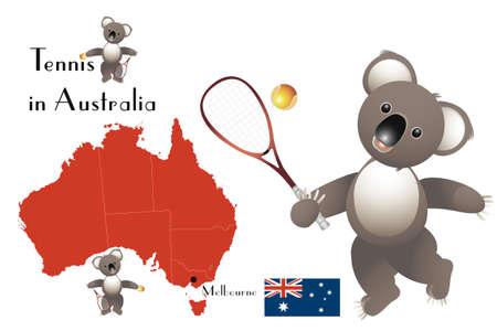 melbourne: Tennis in Australia - Koalas, map and flag of Australia Illustration