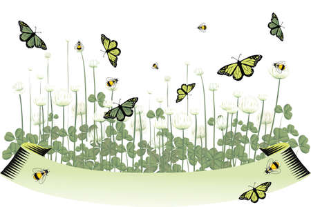 Bees and butterflies in clover field with banner for text Stock Vector - 12308023