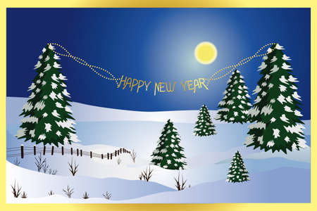 Winter landscape with golden frame, pearls and text  Happy New Year Stock Vector - 12344330