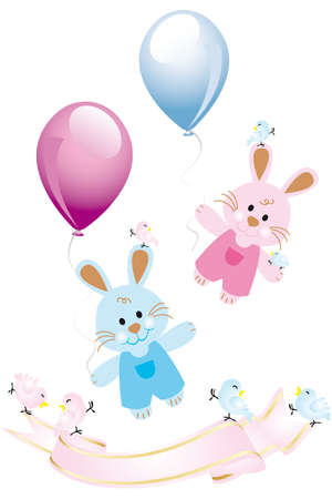Cute rabbits with balloons and birds - isolated on white with banner for text