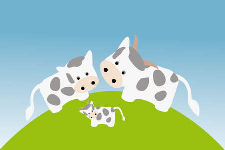 Cute happy cow family in meadow under blue sky Vector
