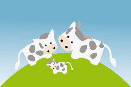 Cute happy cow family in meadow under blue sky