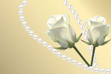 Beautiful card with white roses and pearls on golden background Çizim