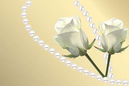 Mooie kaart met witte rozen en parels op gouden achtergrond
