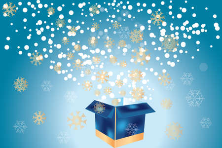 Christmas eve with open gift box sending out golden snowflakes Vector