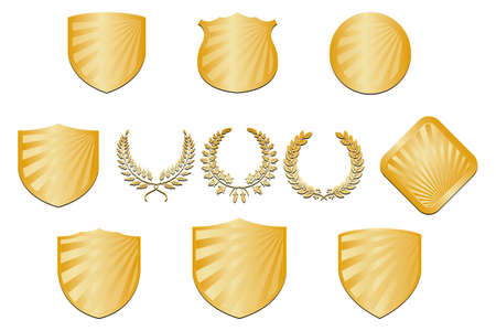 Collection of golden shields and wreaths - isolated on white background Stock Vector - 12308026